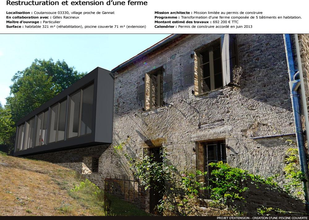 Rehabilitation et extension d 39 une ferme for Extension piscine couverte